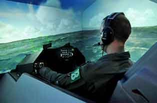 Figure 1: One of four cockpit simulators at the new F-16 MTC
