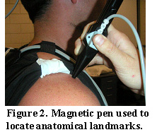 Figure 2. Magnetic pen used to locate anatomical landmarks.