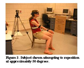 Figure 3. Subject shown attempting to reposition at approximately 50 degrees.