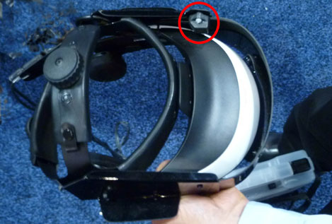 Polhemus G4 sensor attached to HMD