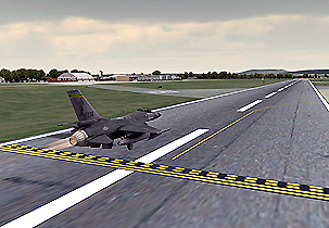Figure 4: Real-time VRSG rendering of an F-16 entity taking off from the runway of the virtual Vermont ANG airfield.